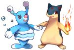 :d brionne brown_eyes bubble commentary conmimi creature english_commentary fang fire flame full_body gen_2_pokemon gen_7_pokemon happy looking_at_viewer no_humans open_mouth pokemon pokemon_(creature) quilava simple_background smile standing violet_eyes white_background