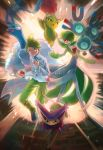 1boy altaria bird blue_eyes brown_eyes collared_shirt commentary_request creature delcatty fighting_stance floating gardevoir gen_1_pokemon gen_3_pokemon green_eyes green_pants highres holding holding_poke_ball jumping kikuyoshi_(tracco) long_sleeves looking_at_viewer magneton male_focus mitsuru_(pokemon) pants poke_ball poke_ball_(generic) pokemon pokemon_(creature) pokemon_(game) pokemon_rse red_eyes roselia shirt