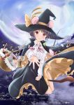 >_< 1girl animal_ears bangs basket black_cape black_skirt blush bow broom broom_riding candy cape capelet city clouds cookie eyebrows_visible_through_hair eyes_visible_through_hair food frilled_skirt frilled_sleeves frills grey_hair hat highres lights long_sleeves looking_at_viewer moon mouse mouse_ears mouse_tail nagiyu_(shirokuma_village) nazrin neon_lights night open_hand outstretched_hand reaching reaching_out red_eyes red_neckwear red_ribbon ribbon shirt short_hair skirt star sweets tail touhou white_shirt witch_hat yellow_bow yellow_ribbon