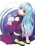 1girl belt blue_hair bodysuit breasts candy chaps closed_mouth commentary_request copyright_name cropped_jacket food gloves kula_diamond long_hair looking_at_viewer medium_breasts red_eyes solo the_king_of_fighters the_king_of_fighters_2000 very_long_hair