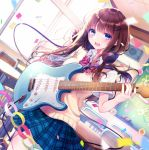 1girl :d bangs blue_eyes blue_skirt bow brown_hair collared_shirt commentary_request confetti day diagonal-striped_bow diagonal_stripes dutch_angle electric_guitar eyebrows_visible_through_hair guitar hand_on_headphones hand_up headphones headphones_around_neck holding holding_instrument indoors instrument kashiwabara_en long_hair looking_at_viewer open_mouth original plaid plaid_skirt pleated_skirt red_bow school_uniform shirt short_sleeves skirt smile solo striped sunlight sweater_vest white_shirt window