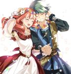 1boy 1girl alm_(fire_emblem) armlet blue_headband celica_(fire_emblem) closed_eyes dress fire_emblem fire_emblem_echoes:_shadows_of_valentia fire_emblem_heroes green_hair grin head_wreath headband holding_hands long_hair long_sleeves misu_kasumi open_mouth petals redhead short_hair simple_background smile white_background