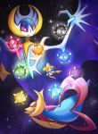 :o black_eyes closed_mouth commentary conmimi creature cresselia english_commentary eye_contact floating full_body gen_3_pokemon gen_4_pokemon gen_7_pokemon jirachi looking_at_another lunala minior no_humans pink_eyes pokemon pokemon_(creature) space star_(sky) trait_connection