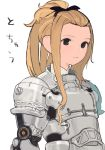 1girl armor black_bow blonde_hair bow brown_eyes closed_mouth cuirass forehead hair_bow hair_pulled_back knight medium_hair nanora original plate_armor shoulder_armor sidelocks simple_background solo spaulders tied_hair upper_body white_background