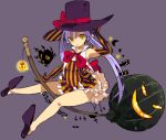 1girl acchi_ai graphite_(medium) halloween hat jack-o'-lantern mage magic mechanical_pencil original pencil pumpkin sorceress traditional_media witch witch_hat wizard