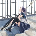 1girl armlet black_footwear black_legwear blue_eyes blue_skirt breasts capelet collared_shirt corset dress_shoes earrings feather_hair_ornament fence hair_ornament hairclip highres holding holding_spear holding_weapon jewelry long_hair looking_up original partisan polearm purple_hair ring shirt short_sleeves sidelocks sitting sitting_on_stairs skirt solo somehira_katsu spear stairs stone_stairs thigh-highs two_side_up weapon white_capelet white_corset