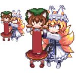 2girls animal_ears blonde_hair blush brown_hair cat_ears cat_tail chen commentary fox_ears fox_tail full_body hat holding_another longcat lowres multiple_girls multiple_tails pillow_hat pixel_art short_hair smile tabard tail touhou two_tails unk_kyouso yakumo_ran