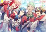 4boys :d black_horns blue_eyes blue_hair braid brown_hair fourme_d'ambert frutica_renk glasses gloves green_gloves green_hair hair_between_eyes head_fins highres holding holding_microphone idol looking_at_viewer male_focus microphone multiple_boys open_mouth outdoors pixiv_fantasia pixiv_fantasia_age_of_starlight pointy_ears red_eyes red_gloves redhead rezia rysdor_ginger smile standing uniform wurst_aoiyama yellow_eyes yellow_gloves