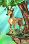 brown_eyes cliff commentary creature deer drawingpkmneveryday english_commentary full_body gen_5_pokemon grass no_humans pokemon pokemon_(creature) sawsbuck solo standing tree