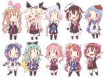 >_< >_o 6+girls ahoge animal_ears aqua_hair asymmetrical_legwear bangs black_gloves black_legwear blonde_hair blue_hair blush bow braid brown_hair cat_ears chibi crossover detached_sleeves gloves green_hair hair_flaps hair_ornament hairband hairclip harusame_(kantai_collection) hat kantai_collection kawakaze_(kantai_collection) kneehighs light_brown_hair long_hair low_twintails multiple_girls murasame_(kantai_collection) one_eye_closed open_mouth pink_hair pleated_skirt ponytail redhead remodel_(kantai_collection) ren_kun sailor_collar samidare_(kantai_collection) sanrio scarf school_uniform serafuku shigure_(kantai_collection) shiratsuyu_(kantai_collection) short_hair simple_background skirt smile suzukaze_(kantai_collection) thigh-highs twintails two_side_up umikaze_(kantai_collection) white_background white_gloves yamakaze_(kantai_collection) yuudachi_(kantai_collection)