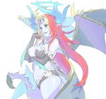 1girl antenna_hair bangs bare_shoulders black_bra black_gloves black_panties blue_eyes blue_skin bra breast_lift breasts contrapposto cowboy_shot dragon_horns dragon_wings elbow_gloves facial_mark forehead_mark from_side gloves halo hand_up horns jewelry large_breasts long_hair low_wings multicolored_hair multiple_wings nagisa_kurousagi navel necklace original panties parted_bangs redhead revealing_clothes simple_background smile smirk solo standing streaked_hair underwear very_long_hair white_background wings