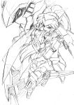 1girl commentary_request elbow_gloves full_body gloves graphite_(medium) gun headgear high_ponytail highres kumichou_(ef65-1118-ef81-95) long_hair mecha mecha_musume open_mouth original shoulder_armor sketch stance sword traditional_media very_long_hair weapon white_background