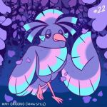 bird bird_focus black_eyes blush character_name commentary creature english_commentary full_body gen_7_pokemon looking_at_viewer no_humans number oricorio oricorio_(sensu) petals pokemon pokemon_(creature) pokemon_number purple_theme solo standing tonestarr
