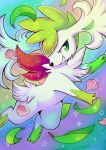 commentary creature english_commentary flufflixx flying full_body gen_4_pokemon green_eyes grin highres leaf no_humans pokemon pokemon_(creature) rainbow_background shaymin shaymin_(sky) smile solo sparkle star