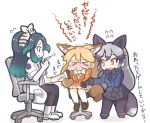 >_< 3girls animal_ears black_gloves black_hair black_legwear black_neckwear black_skirt blue_jacket bow bowtie chair commentary_request crying extra_ears eyebrows_visible_through_hair ezo_red_fox_(kemono_friends) feathers fox_ears fox_girl fox_tail fur_trim gloves gloves_removed green_hair grey_hair hair_bow hair_feathers hair_tie holding_hands injection jacket japari_symbol kako_(kemono_friends) kemono_friends labcoat long_hair long_sleeves multicolored_hair multiple_girls necktie needle orange_hair orange_jacket orange_neckwear pants pantyhose pleated_skirt scared short_sleeves silver_fox_(kemono_friends) silver_hair single_glove sitting skirt sleeves_rolled_up snot syringe tail tanaka_kusao tears translation_request white_legwear white_neckwear white_skirt