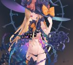 1girl abigail_williams_(fate/grand_order) bangs bare_shoulders black_bow black_headwear black_panties blonde_hair blush bow breasts fate/grand_order fate_(series) forehead grey_background hat highres io_(io_oekaki) key keyhole long_hair multiple_bows multiple_hat_bows navel open_mouth orange_bow panties parted_bangs red_eyes skull_print small_breasts smile solo staff stuffed_animal stuffed_toy teddy_bear underwear witch_hat