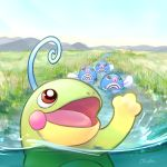 black_eyes blue_sky commentary_request creature day gen_1_pokemon gen_2_pokemon grass looking_up no_humans ohdon outdoors pokemon pokemon_(creature) politoed poliwag red_eyes river signature sky