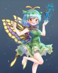 1girl antennae aqua_hair arinu barefoot blue_background blue_nails blush bug butterfly butterfly_earrings butterfly_wings dress earrings eternity_larva eyebrows_visible_through_hair feet_out_of_frame green_dress highres insect jewelry leaf leaf_on_head leg_up looking_at_viewer nail_polish open_mouth see-through short_sleeves smile solo toenail_polish touhou upper_teeth wings yellow_eyes