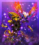 alternate_color bird blue_eyes border commentary creature deviantart_username english_commentary flying full_body gen_2_pokemon gen_6_pokemon grass highres ho-oh hoopa horns ja-punkster no_humans one_eye_closed pokemon pokemon_(creature) purple_background shiny_pokemon signature smoochum sparkle tumblr_username walking watermark web_address
