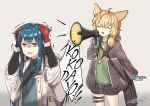 2girls animal_ears arknights blonde_hair blue_hair closed_eyes coat covering_ears gloves id_card jacket kroos_(arknights) lord_ezyn megaphone multiple_girls rabbit_ears romaji_text shorts texas_(arknights) wolf_ears yellow_eyes