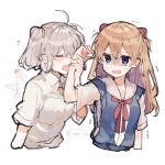 2girls :d ahoge angel_chromosome_xx blue_eyes blue_shirt closed_eyes collared_shirt disgust fang grey_hair hair_between_eyes headgear heart holding_arm ikeuchi_tanuma light_brown_hair multiple_girls neck_ribbon neon_genesis_evangelion open_mouth rectangular_mouth red_neckwear red_ribbon ribbon sailor_collar school_uniform serafuku shirt short_sleeves skin_fang smelling smile souryuu_asuka_langley sweatdrop tabris-xx two_side_up white_background white_hair white_sailor_collar wing_collar yuri