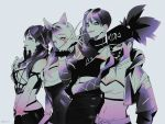 4girls ahri akali animal_ears belt braid closed_mouth collarbone covered_navel dress earrings evelynn eyebrows_visible_through_hair eyewear_on_head face_mask facial_mark fingernails glasses grey_background hat heart highres jacket jewelry k/da_(league_of_legends) k/da_ahri k/da_akali k/da_evelynn k/da_kai'sa kai'sa league_of_legends long_fingernails long_hair mask monochrome multiple_girls navel one_eye_closed panza parted_lips shaded_face signature simple_background single_earring smile twitter_username