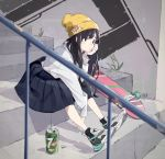 1girl 7up absurdres ankle_socks bangs beanie between_legs black_eyes black_hair black_legwear black_skirt blurry blurry_foreground blush can commentary_request day depth_of_field full_body grey_footwear hand_between_legs hand_up hat highres leaning_forward long_hair long_sleeves looking_away original outdoors pleated_skirt popman3580 railing shirt shoe_soles shoes sitting sitting_on_stairs skateboard skirt soda_can solo stairs stone_stairs very_long_hair white_shirt yellow_headwear