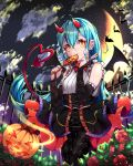 1girl bad_link bangs bare_shoulders bow breasts candy clouds commentary_request copyright_request demon_tail demon_wings dress eyebrows_visible_through_hair flower food frills highres long_hair looking_at_viewer medium_breasts moon orange_bow pruding pumpkin red_flower red_horns red_rose rose smile tail tongue tongue_out wings yellow_eyes