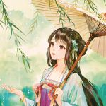 1girl bangle bangs black_hair blue_flower bracelet brown_umbrella chinese_clothes commentary_request flower hair_flower hair_ornament hand_up hanfu holding holding_umbrella jewelry long_hair long_sleeves looking_away oriental_umbrella original parted_lips rain red_eyes red_lips say_hana solo umbrella upper_body wide_sleeves