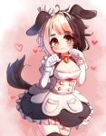 1girl :3 absurdres animal_ears bell bell_collar black_legwear blonde_hair breasts brown_hair collar dog_ears dog_girl dog_tail dress eyebrows_visible_through_hair hachiko_of_castling heart highres kosobin last_origin looking_at_viewer maid maid_headdress multicolored_hair paw_pose red_collar solo tail thigh-highs two-tone_hair wrist_cuffs