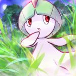 commentary_request creature forest full_moon gen_3_pokemon grass looking_to_the_side moon nature night night_sky no_humans ohdon pokemon pokemon_(creature) ralts red_eyes signature sky solo standing star_(sky) starry_sky tree