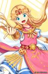 1girl blonde_hair blue_eyes breasts dress long_hair looking_at_viewer open_mouth pointy_ears pokey princess_zelda smile solo symbol_commentary the_legend_of_zelda tiara