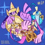 aegislash blue_background blue_eyes character_name commentary creature doublade english_commentary floating full_body gen_6_pokemon ghost honedge looking_at_another looking_at_viewer no_humans number pokemon pokemon_(creature) pokemon_number shield signature simple_background sparkle sword tonestarr violet_eyes weapon