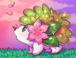 clouds cloudy_sky commentary creature day english_commentary flufflixx from_side full_body gen_4_pokemon grass no_humans outdoors petals pokemon pokemon_(creature) profile purple_sky shaymin shaymin_(land) sky solo