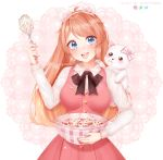 1girl animal animal_ears animal_on_shoulder artist_name bangs bear bear_ears blue_eyes blush breasts commentary commission deviantart_logo dress eyebrows_visible_through_hair fake_animal_ears food fruit highres holding instagram_logo large_breasts long_hair long_sleeves looking_at_viewer open_mouth original pink_dress puppypaww shirt smile solo strawberry twitter_logo white_shirt