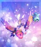 alternate_color bone_hair_ornament bunnelby buzzard clouds cloudy_sky commentary creature day english_commentary eye_contact floating flying full_body gen_3_pokemon gen_5_pokemon gen_6_pokemon ghost highres ja-punkster looking_at_another mandibuzz no_humans pokemon pokemon_(creature) rabbit riding riding_pokemon shiny_pokemon shuppet sky tongue tongue_out violet_eyes yellow_eyes