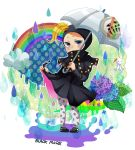 1boy absurdres blackmore blonde_hair blue_eyes catch_the_rainbow flower gradient_eyes highres holding holding_umbrella jojo_no_kimyou_na_bouken leaf leggings male_focus mask multicolored multicolored_eyes rain rainbow raincoat sasamiyu0720 solo steel_ball_run umbrella violet_eyes water