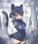 1girl animal_ears black_gloves black_hair black_jaguar_(kemono_friends) black_legwear black_neckwear black_skirt blue_eyes blue_shirt bow bowtie center_frills commentary_request cowboy_shot elbow_gloves extra_ears eyebrows_visible_through_hair forest frilled_skirt frills fur_collar gloves hand_on_own_chest highres jaguar_ears jaguar_girl jaguar_print jaguar_tail kemono_friends kolshica looking_at_viewer nature pleated_skirt print_gloves print_legwear print_skirt shirt short_hair short_sleeves skirt solo tail thigh-highs zettai_ryouiki