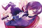 1boy black_neckwear black_pants character_name chess_piece code_geass crossed_legs gradient_hair grin hair_between_eyes happy_birthday highres holding jacket king_(chess) kubird_meme lelouch_lamperouge long_sleeves looking_at_viewer male_focus multicolored_hair pants purple_hair purple_jacket shiny shiny_hair shirt sitting smile solo violet_eyes white_shirt