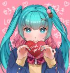 1girl bangs blue_eyes blue_hair blue_jacket blue_nails box eyebrows_visible_through_hair floating_hair hair_between_eyes hair_ornament halha_20 hatsune_miku heart heart-shaped_box heart-shaped_pupils highres holding jacket long_hair long_sleeves looking_at_viewer nail_polish open_clothes open_jacket pink_scarf plaid plaid_scarf red_ribbon ribbon scarf shiny shiny_hair solo sweater symbol-shaped_pupils upper_body valentine very_long_hair vocaloid x_hair_ornament yellow_sweater