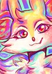 braixen commentary creature english_commentary eyelashes face fang flufflixx gen_6_pokemon heart highres looking_at_viewer multicolored multicolored_eyes no_humans pokemon pokemon_(creature) signature solo violet_eyes