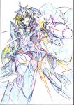 1girl breasts color_trace colored_pencil_(medium) elbow_gloves frame_arms_girl gloves gun headgear highres kumichou_(ef65-1118-ef81-95) long_hair looking_at_viewer low_twintails mecha_musume missile motion_blur open_mouth panties sideboob sketch skindentation smoke solo speed_lines striped striped_panties stylet thigh-highs traditional_media twintails underwear weapon white_background