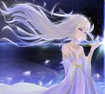 1girl anaisu blonde_hair blue_eyes breasts check_commentary commentary_request crying crying_with_eyes_open crystal fantasy floating_hair gold_trim highres holding jewelry long_hair necklace original platinum_blonde_hair robe small_breasts solo tears very_long_hair white_robe