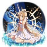 1girl ankle_ribbon arm_strap armpits arms_up asuna_(sao) barefoot breasts brown_eyes brown_hair crop_top full_body highres long_hair long_skirt looking_at_viewer medium_breasts midriff navel official_art pointy_ears restrained ribbon shiny shiny_hair sideboob sitting skirt sleeveless solo stomach sword_art_online titania_(sao) transparent_background very_long_hair wariza white_ribbon white_skirt