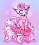 :o alolan_form alolan_vulpix blue_eyes blush clothed_pokemon commentary creature english_commentary flufflixx full_body gen_7_pokemon hair_ribbon heart highres long_sleeves looking_at_viewer miniskirt no_humans no_shoes pink_ribbon pink_skirt pink_theme pleated_skirt pokemon pokemon_(creature) purple_background ribbon shadow signature simple_background skirt solo standing star sweater thigh-highs