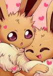 :o ^_^ closed_eyes commentary creature eevee english_commentary face flufflixx gen_1_pokemon heart highres hug no_humans pink_background pokemon pokemon_(creature) simple_background sparkle violet_eyes
