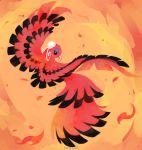 bird bird_focus black_eyes commentary creature english_commentary flying full_body gen_7_pokemon highres karrybird looking_at_viewer no_humans orange_background oricorio oricorio_(baile) pokemon pokemon_(creature) signature solo