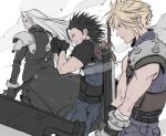 3boys act_(a_moso) armor bandaged_arm bandages belt black_gloves black_hair blonde_hair closed_mouth cloud_strife final_fantasy final_fantasy_vii gloves green_eyes highres holding holding_sword holding_weapon huge_weapon katana long_hair medium_hair multiple_boys parted_lips pauldrons sephiroth smoke standing sword weapon weapon_on_back white_hair zack_fair