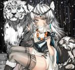 1girl absurdres ahoge animal_ear_fluff animal_ears animal_print arknights bangs bead_necklace beads bell black_footwear boots braid commentary dress eyebrows_visible_through_hair feet_out_of_frame fur-trimmed_boots fur_trim grey_eyes grey_legwear hands_up head_chain highres holding holding_bell holding_own_tail huge_filesize jewelry kanniepan leopard leopard_ears leopard_girl leopard_print leopard_tail long_sleeves necklace pelvic_curtain pramanix_(arknights) side_braids silver_hair sitting snowing tail thigh-highs thighs turtleneck turtleneck_dress twin_braids white_dress wide_sleeves