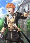 1boy absurdres belt ferdinand_von_aegir fire_emblem fire_emblem:_three_houses garreg_mach_monastery_uniform gloves highres leaf male_focus open_mouth orange_eyes orange_hair polearm shiyo_(jkke5275) sky solo spear sword teeth tree uniform weapon